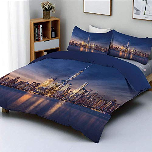 SINOVAL New York Skyline Manhattan After Sunset Metropolis Downtown Urban Panorama USA Studio Single Apartment Decorate Decorative Custom Design 3 PC Duvet Cover Set Queen/Full