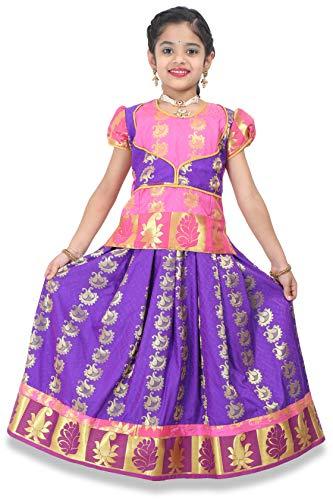 - kaatru Thana Girls Pavadai Set D20 - Lehenga Choli - Pink & Violet (1-2 Y)