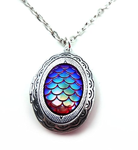 Small Oval silver toned Dragon Egg Locket Necklace - Mermaid Scale Pendant 18in Chain (Red) (Small Link Oval Necklace)