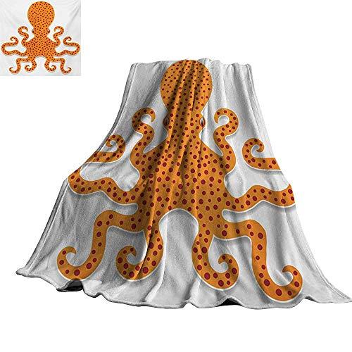"RenteriaDecor Kraken,Fashion Warm All Season Blanket Cute Spotty Octopus Pattern in Vivid Colors Marine Monster Kids Nursery Theme Print Lightweight Plush Throws 50""x30"""