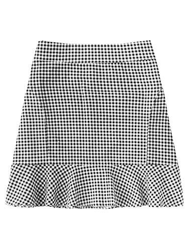WDIRARA Women's Cute Ruffle Hem Checked Zip Up Mini Skirt Black and White M