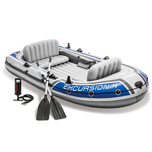 (Intex Excursion 4, 4-Person Inflatable Boat Set with Aluminum Oars and High Output Air Pump (Latest Model))