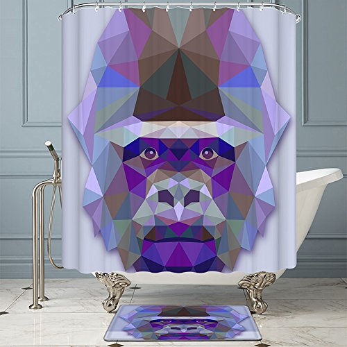 Amoy Lefan Gorilla King Kong Shower Curtain,Water and Mildew Resistant - Machine Washable,72 by 78 inch ,Purple - I Love Lucy Shower Curtain
