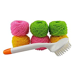 (6 Pack)Magic Scratch-Free Scourer for NON-STICK Pan / Pot / Dish, Tough Polyester Remove Hard Dirt Easier, No Rust and 100% Protects Any Non-Stick Surfaces, Stainless steel and Delicate Surfaces