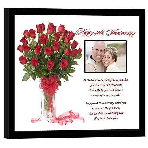 40th Wedding Anniversary for Couple Gift - Poem in 8x10 Inch Frame - Add Photo