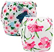 ALVABABY Swim Diapers Reuseable Washable Snap Adjustable 2 PCS Pack YK42-43-CA