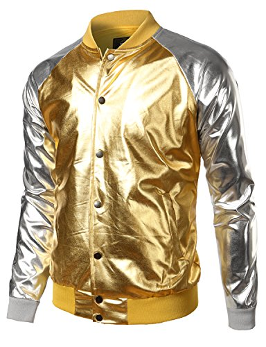 JOGAL Mens Metallic Nightclub Styles Button Down Varsity Baseball Bomber Jacket Medium -