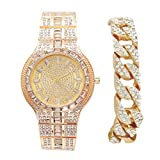 Miami Gold Cuban Iced Out Bracelet with Matching Iced Out Hip Hop Gold Mens Bling Bling Watch - 8645B Gold Cuban