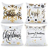 Ivenf 4 Pack 18''x 18'' Gold Stamping Merry Christmas Decorations Satin Throw Pillow Cushion Cover Case, Gold Foil Art Print Snowflake Holiday Home Decor