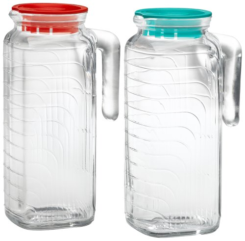 Bormioli Rocco Gelo 2-Piece Glass Pitcher Set with Lids, Red and Green 1.2 liter (Square Glass Pitcher)