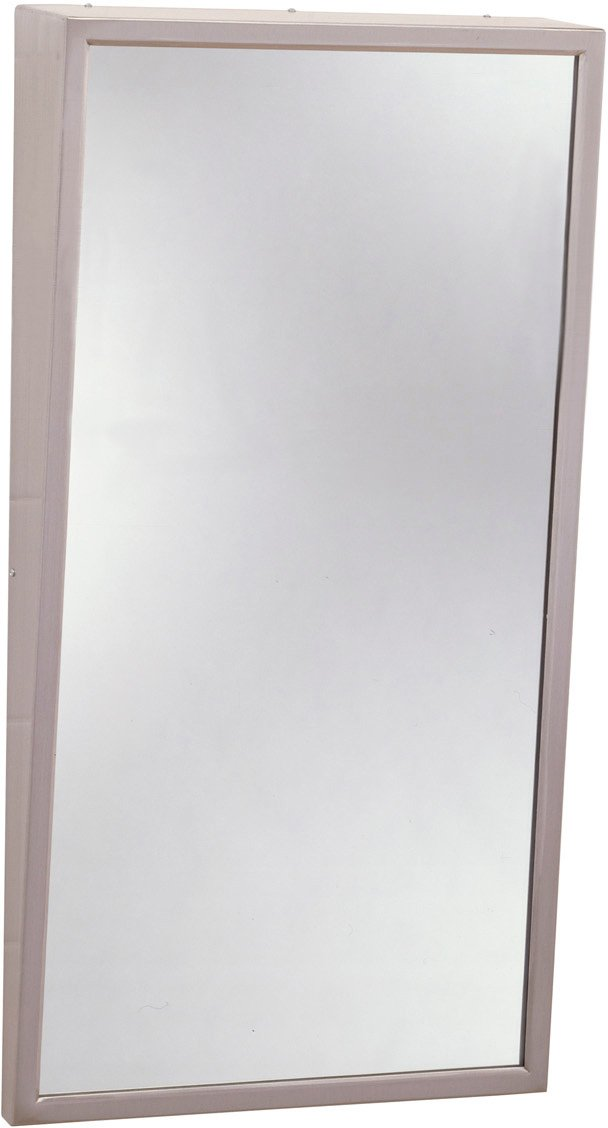 Satin Finish Bobrick 293 304 Stainless Steel Frame Fixed-Position Tile Mirror 18 Width x 36 Height 18 Width x 36 Height Bobrick Geneva B-293-1836