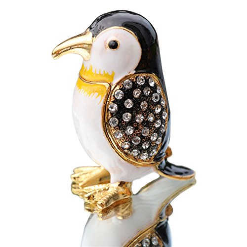 Waltz&F Hand Painted Enameled Decorative Cute penguins Hinged Jewelry Animal Trinket Box Unique Gift For Home Decor ()