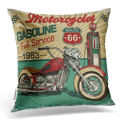 Emvency Throw Pillow Covers Vintage Gasoline Route 66 Poster Classic Motorcycles Decor Pillowcases Polyester 16 X 16 Inch Square Hidden Zipper Home Cushion Decorative Pillowcase