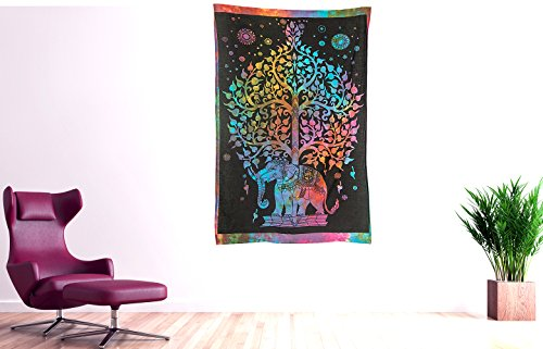Tribe Azure Colorful Elephant Tapestry Hippie Boho Wall Hanging Decor Decorative Art Bohemian College Dorm Medium Living Room Bedroom Apartment Canvas Psychedelic