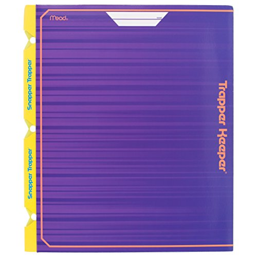 Mead Trapper Keeper Snapper Trapper 2-Pocket Portfolio with Prongs, 11.88 x 12 x .12 Inches, Purple (72666)