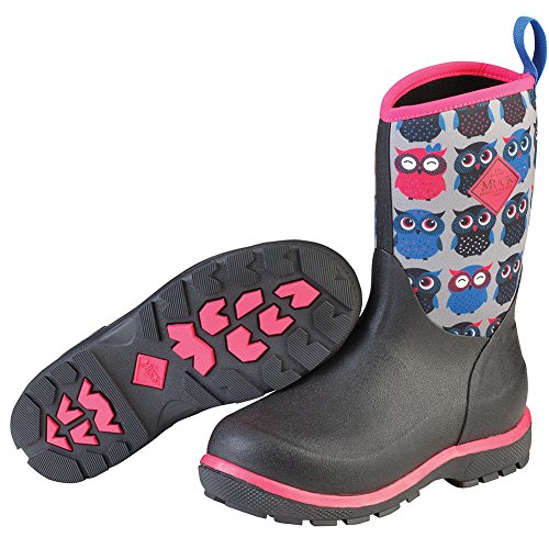 Pictures of Muck Boot Kid's Element Waterproof Boots Black, Rose Red, Owls 1