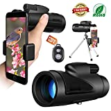 Miya Monocular Telescope High Power, 12x50 Dual Focus Low Night Vision Waterproof Monoculars Scope for Adults Compact with Cell Phone Bird Watching Hunting Camping Traveling Wildlife Scenery