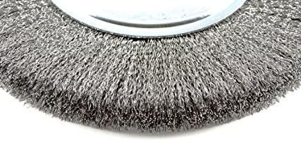 Forney 72747 Wire Bench Wheel Brush Fine Crimped with 1//2-Inch and 5//8-Inch A...