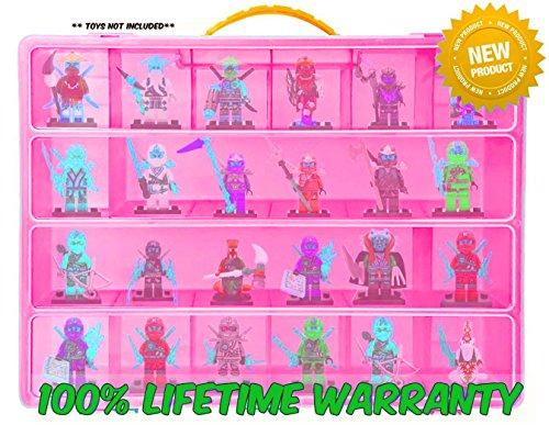 Lego Ninjago Carrying Case - Stores Dozens Of Figures - Durable Toy Storage Organizers By Life Made Better - Pink