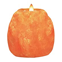 WBM Himalayan Glow Natural Style  Hand Carved Natural Crystal Himalayan 1 Hole Tealight Candle Holder, 2-Pack