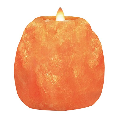 Himalayan Glow 3002A Natural Crystal Salt Rock Tea Light Candle Holder (3.3 LBS) 3.5 inches. Natural Style Hand Carved Pure Crystal Himalayan Hymalain 1 Hole Tealight Candle Hloders, 2-Pack
