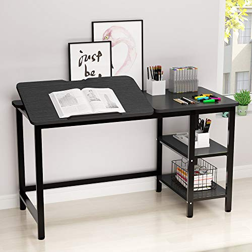 Drafting Table, LITTLE TREE Multi-Function Drawing Table with Adjustable Tiltable Stand Table Board, Can Also be Computer Desk, Writing Desk or Workstation for Office and Home Use. (Black)