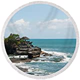 Pixels Round Beach Towel With Tassels featuring ''Sea Temple, Tanah Lot Temple, Tanah'' by Pixels