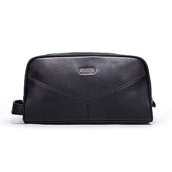 Amazon.com: Bolsa de aseo con cremallera de piel auténtica ...