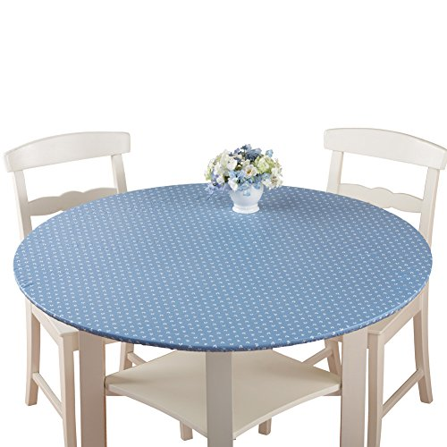 Collections Etc. Patterned Fitted Table Cover with Soft Flannel Backing and Durable Wipe-Clean Vinyl Construction, Blue Print, Round