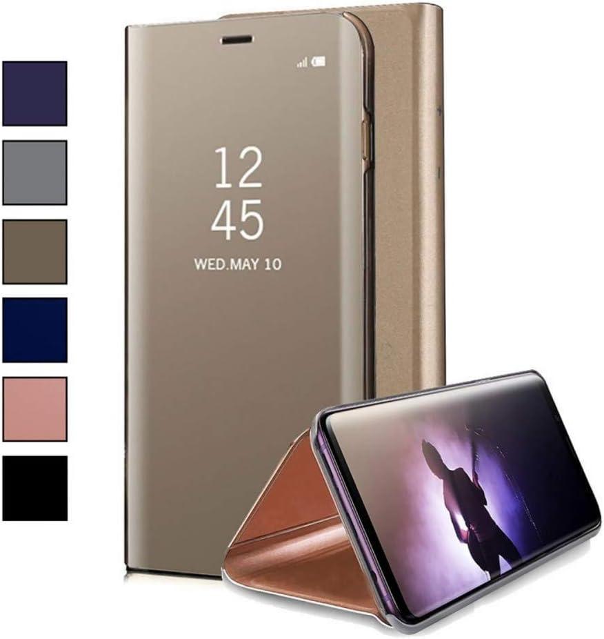 COOVY® Funda para Xiaomi Mi 6 Aspecto metálico, armazón, Lujosa, Ventana de Espejo Transparente, visión Clara, Soporte | Color Oro