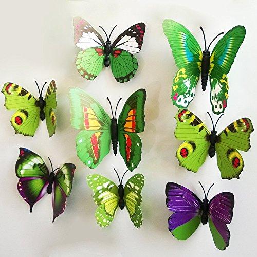 Rainbow Fox 3D Schmetterling Wandaufkleber 12 Stück Mode Schmetterling Magnetisch Wandsticker Wandaufkleber DIY Wandverzierung Wanddeko(grün)