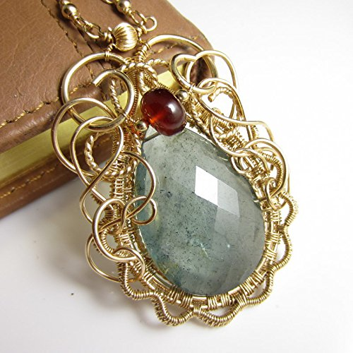 The Bayou Potion Necklace - Moss Aquamarine, Cognac Quartz in 14k Gold Fill