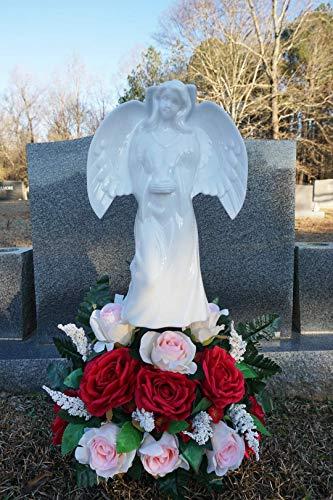 "Solar Lighted Angel by Eternal Light | Solar Grave Decoration Heartfelt Cemetery Memorial 14"" x 10"""