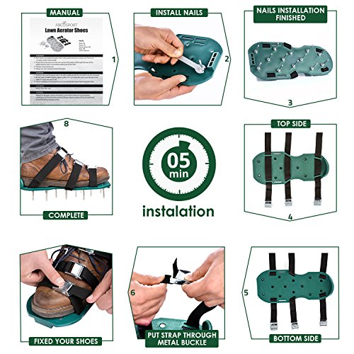 Lawn Aerator Spike Shoes – For Effectively Aerating Lawn Soil – Comes with 3 Adjustable Straps with Metallic Buckles – Universal Size that Fits all – For a Greener and Healthier Garden or Yard. by Abco Tech (Image #4)