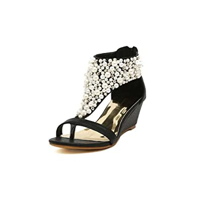 70157ebd0138e Angelliu Women s Fancy Bohemian Rhinestone Pearl Wedges Sandals T-Strap  Shoes Black