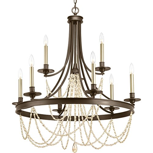 Progress Lighting P400006-020 Allaire Nine-Light,Two-Tier Chandelier, Venetian Bronze (Nine Light Bronze Venetian)