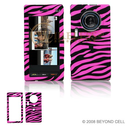 (Hot Pink and Black Zebra Animal Skin Design Snap-On Cover Hard Case Cell Phone Protector for Samsung Memoir T929 [Beyond Cell Packaging])