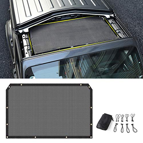(Sunshade Mesh Shade Top Cover Provides Roof UV Sun Protection for Jeep Wrangler JL Rubicon Sahara Sport Sport-S)