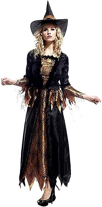 EVRYLON Disfraz de Bruja de Carnaval telarañas Bruja Medieval ...