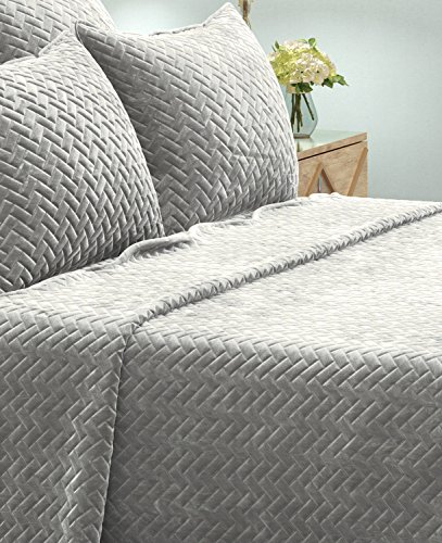 Brielle Lattice Heavy Sham Set, Standard, Grey (Standard Shells Sham)