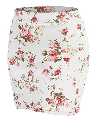 Doublju Stretch Knit Bodycon Mini Skirt for Women with Plus Size IVORYPINK Small