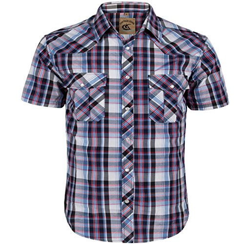 Coevals Club Men's Snap Button Down Plaid Short Sleeve Work Casual Shirt (Blue & Black #21, XL)
