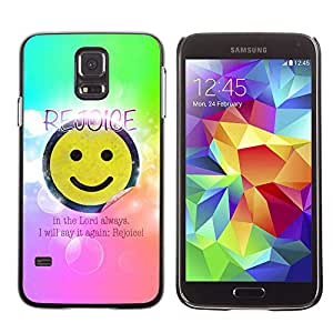 Planetar® ( Bible Verse-REJOICE IN THE LORD ) Samsung Galaxy S5 V / i9600 / SM-G900 Fundas Cover Cubre Hard Case Cover