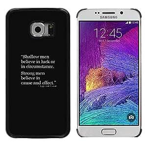 Slim Design Hard PC/Aluminum Shell Case Cover for Samsung Galaxy S6 EDGE SM-G925 shallow men strong quote deep smart / JUSTGO PHONE PROTECTOR