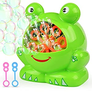 Victostar Automatic Bubble Machine with High Output Over 800 Bubbles Per Minute for Outdoor or Indoor Use,4 AA Battery Operated(Not Include) (Frog Shape)