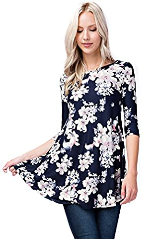 Betsy Red Couture Women's 3/4 Sleeve Loose Fit Tunic Top (L, Botanical Eclipse) (Eclipse Couture)