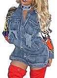 Pxmoda Women Patchwork Printed Back Denim Jacket (S, Blue)