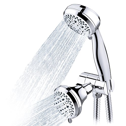 CLOFY Full Chrome Shower Head, 28-Setting Combo Shower Heads with Holder & Hose, 2 in 1 High Pressure Handheld Shower Head Shower Faucet ()
