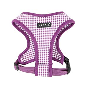 Authentic Puppia Baby Checkered Harness A, Violet, Small