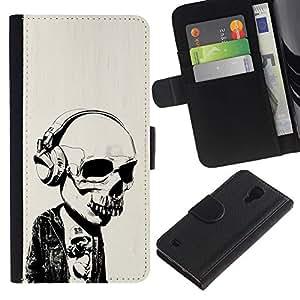 MobileX / Samsung Galaxy S4 IV I9500 / Headphones Street Style Skull Skeleton / Cuero PU Delgado caso Billetera cubierta Shell Armor Funda Case Cover Wallet Credit Card